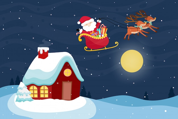 Christmas greeting card with santa claus and reindeer. vector illustration