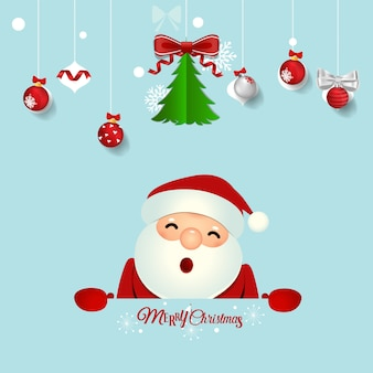 Christmas greeting card with santa claus