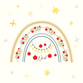 Christmas greeting card with scandinavian rainbow garlands and decorations noel nativity scene