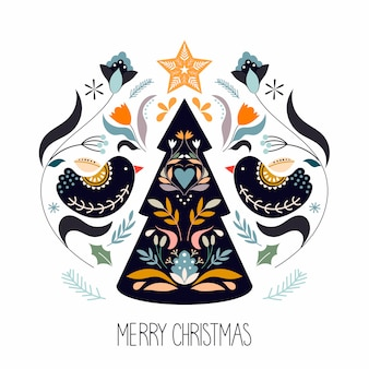 Christmas greeting card with scandinavian traditional elements