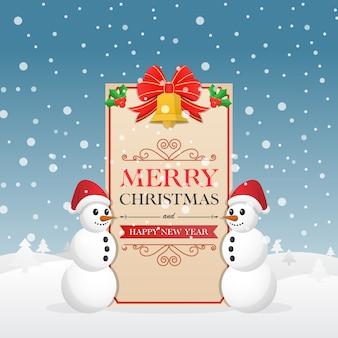 雪だるまと装飾クリスマスの鐘のクリスマスグリーティングカード