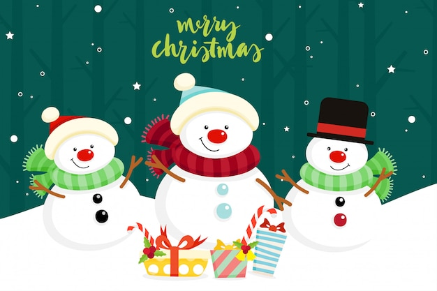 Christmas greeting card with snowman family. vector illustration