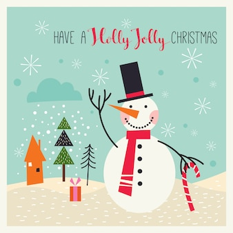 Christmas greeting card with snowman in a winter landscape