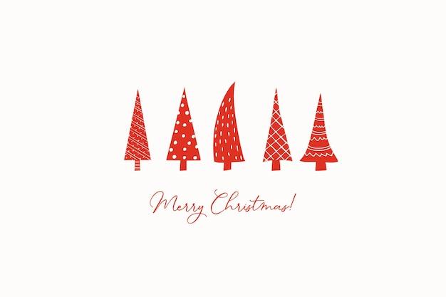 Рождественская открытка со стилизованными красными стилизованными елками