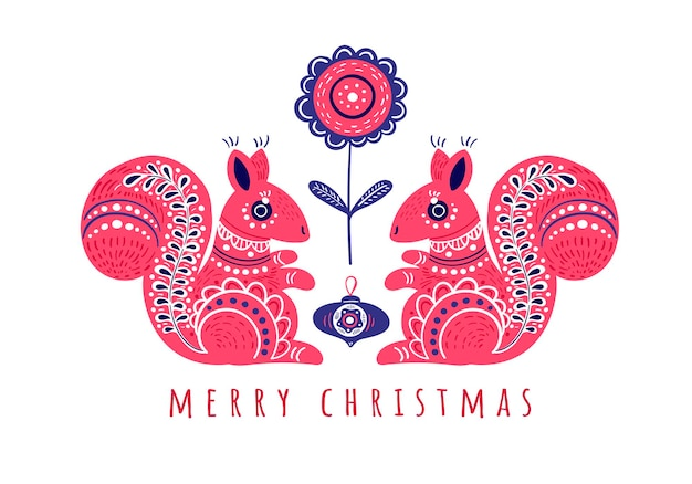Christmas greeting card with two cute squirrels on white background decorative folk style