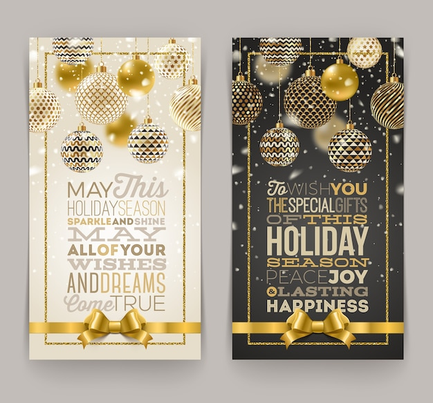 Christmas greeting card with type design and ornate christmas baubles.