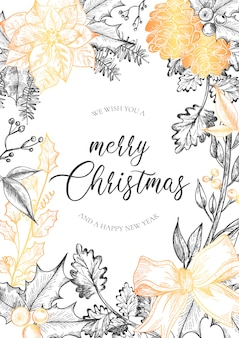 Christmas Greeting Card with Vintage Flowers