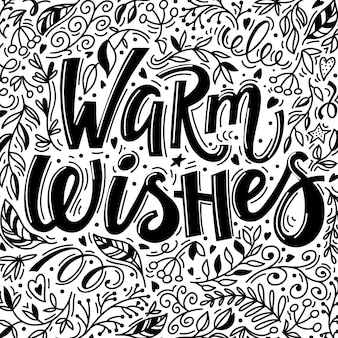 Christmas greeting card with warm wishes text and hand drawn doodle elements
