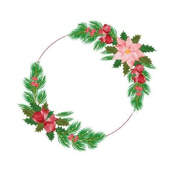 초대 카드 및 그래픽에 대 한 수채화 꽃 프레임 크리스마스 인사말 카드
