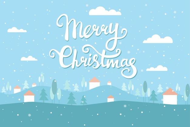 冬の風景とクリスマスグリーティングカード雪の空の家クリスマスツリーベクトルフラット
