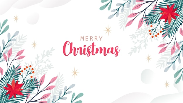 Christmas greeting card with winter leaves in corners