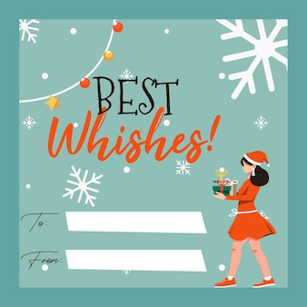 Christmas greeting card with women character illustration