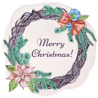 Christmas greeting card with wooden wreath