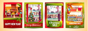 Christmas greeting cards and Xmas sale poster templates