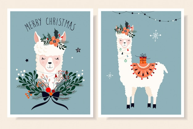 ラマと季節の要素を持つクリスマスグリーティングカードコレクション