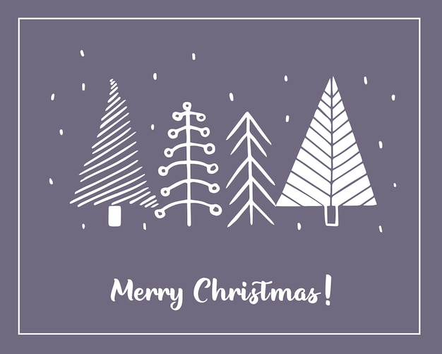 Christmas greeting cards made of handdrawn stylized christmas tre