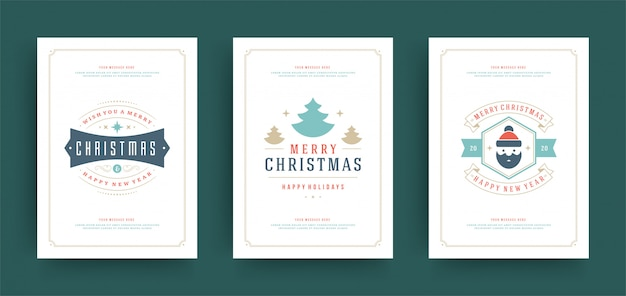 Christmas greeting cards set design template with decoration