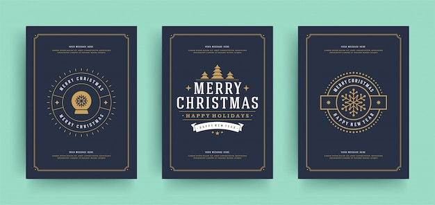 Christmas greeting cards set template with decoration