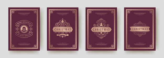 Christmas greeting cards set vintage typographic design, ornate decorations symbols with winter holidays wishes, floral ornaments and flourish frames