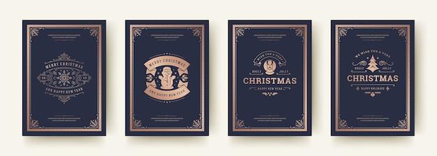 크리스마스 인사말 카드 빈티지 인쇄상의 디자인 화려한 장식 기호 설정