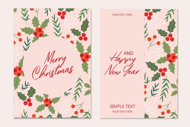 Рождественские открытки шаблон с сосновыми ветками, цветами пуансеттия и красными ягодами на черном фоне. праздничное приглашение.