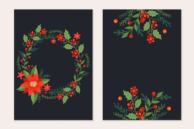 松の木の枝、ポインセチアの花、黒の背景に赤い果実とクリスマスグリーティングカードテンプレート。休日の招待状。