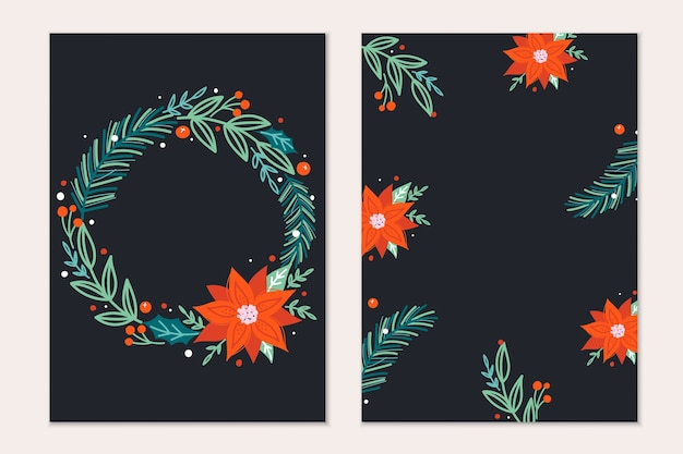 소나무 나무 가지, 포인세티아 꽃과 붉은 열매와 함께 크리스마스 인사말 카드 서식 파일