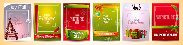 Christmas greeting cards templates illustration with picture photo frame
