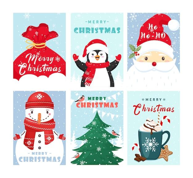 Набор шаблонов рождественских открыток. симпатичные зимние праздники коллекции открыток.