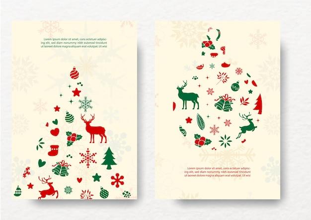 クリスマスのオブジェクトとクリスマスツリーの装飾植物とクリーム色の背景にクリスマスボール分離のクリスマスグリーティングカード