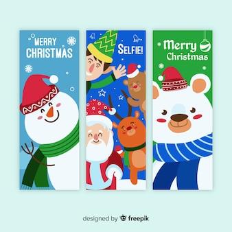 Christmas greeting christmas characters banner