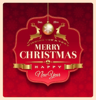 Christmas greeting decorative banner with type design and raindeer-