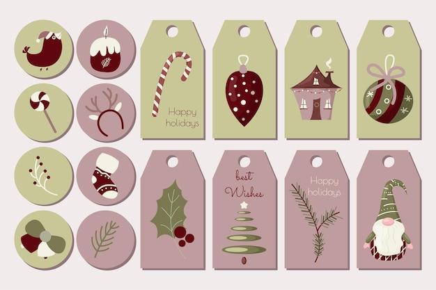 クリスマスの挨拶のギフトタグと冬のお祭りの要素で設定されたラベル新年のベクトルテンプレート
