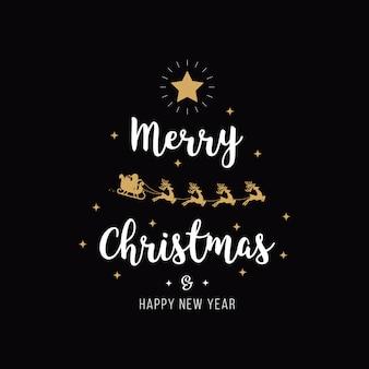 Рождественские приветствие золото санта санях черный фон