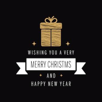 Рождественский приветствие золотой каракули подарок черный фон