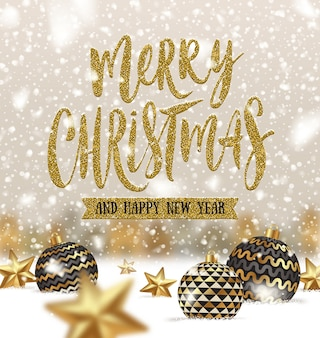Рождественские приветствия иллюстрация с шарами и звездами на снегу.