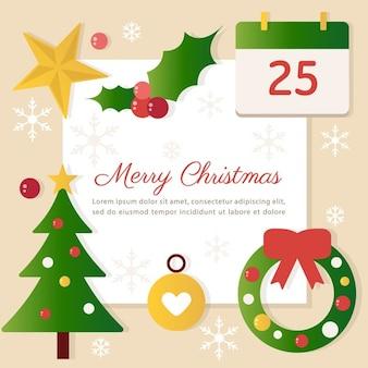要素を持つクリスマスのグリーティングイラスト