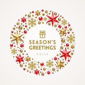 Рождественские приветствия иллюстрация с праздничным декором.