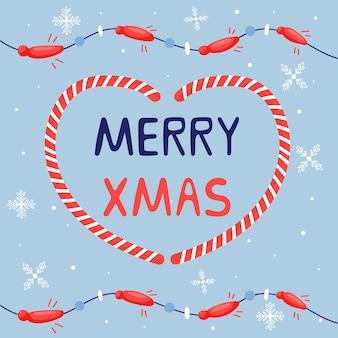 화 환과 함께 메리 크리스마스 글자 크리스마스 인사말입니다. 휴일 귀여운 요소 카라멜 심장입니다. 새해 인사말 카드
