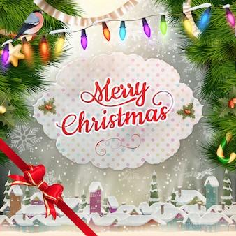 クリスマスの挨拶光と雪片の背景。メリークリスマスの休日はデザインとビンテージ飾り装飾を望みます。新年あけましておめでとうございますメッセージ。
