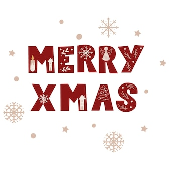 Christmas greeting - merry x-mas. vector illustration.