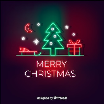 Christmas greeting in neon style