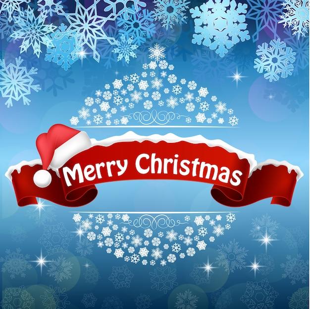 빨간 눈 덮인 리본에 크리스마스 인사말