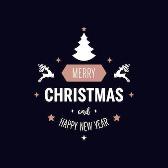 クリスマスの挨拶の装飾品は、金の青の背景