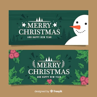 Christmas greeting snowman mistletoe banner