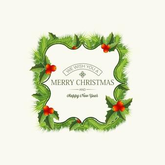フレームとモミの枝とヒイラギの果実のイラストの花輪のテキストとクリスマスの挨拶テンプレート