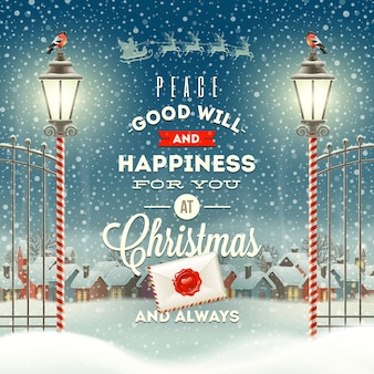 Christmas greeting type design with vintage street lantern against a evening winter town.