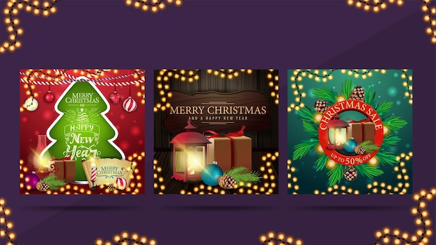 Christmas greeting web posters in different styles.