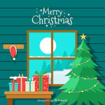 Christmas greeting window cabin ilustration background