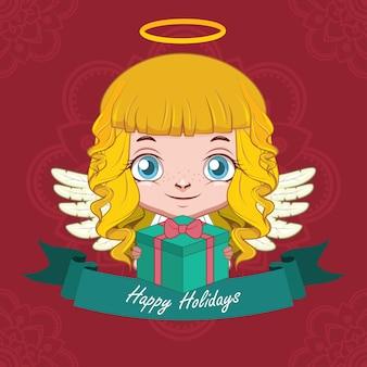선물을 들고 행복 천사와 크리스마스 인사말